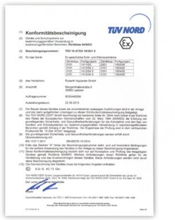 RUMED ATEX Certificate for Safety T-Line DE