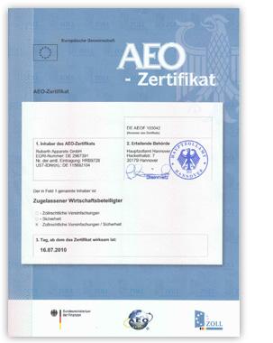 RUMED Certificate AEO